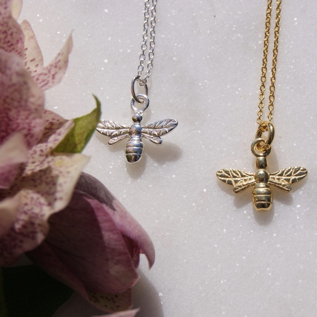 Home of Juniper silver gold bee necklace
