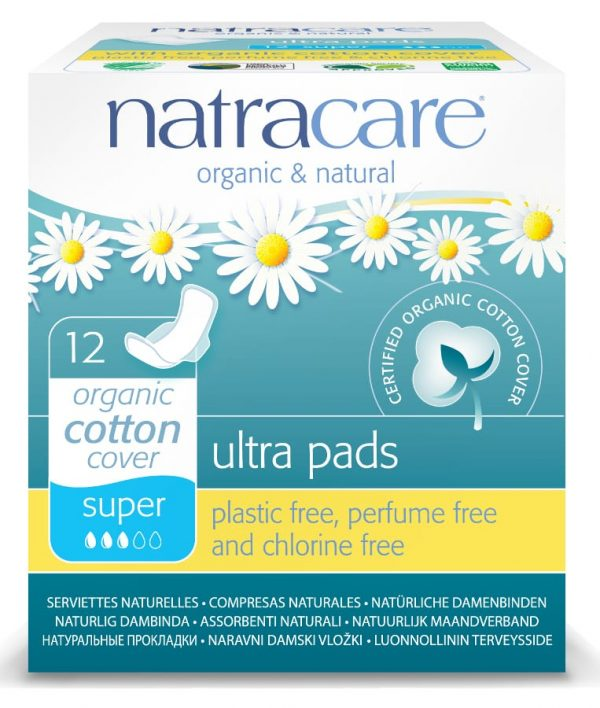 Natracare Ultra Pads - Super With Wings (Pack of 12)
