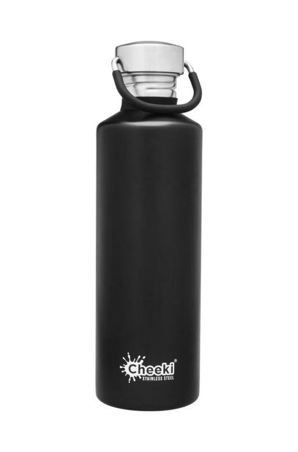 750ml Matt Black Reusable Water bottle Cheeki