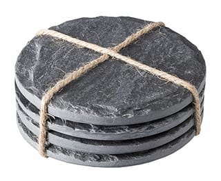 Natural slate set of 4 round coasters