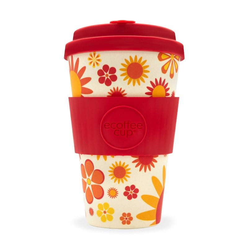Ecoffee Cup Happier with red14 oz reusable