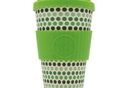 EcoffeeCup 14oz GreenPolka reusable
