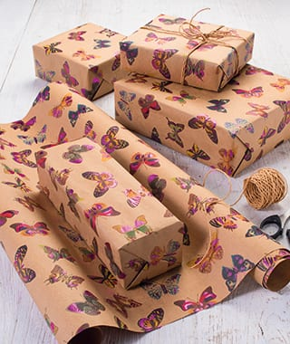Foiled wrapping paper recycled fair trade