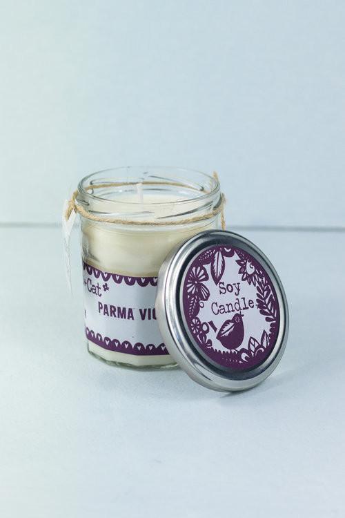 Parma violet jam jar candle