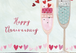 Happy Anniversary Card Champagne Hand finished
