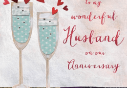 Happy Anniversary Husband Card Champagne
