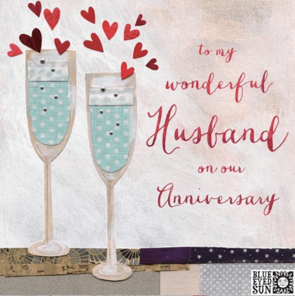 Happy Anniversary Husband Card Champagne