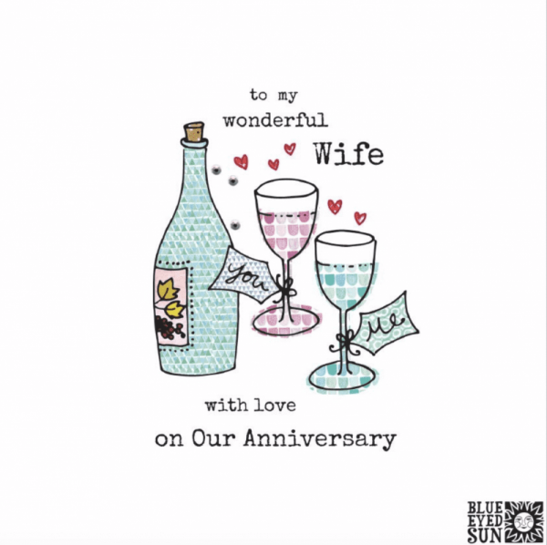 Happy Anniversary Wonderful Wife - Wine Glass