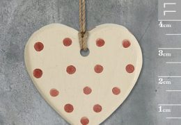 Little round heart-Cream with red dots