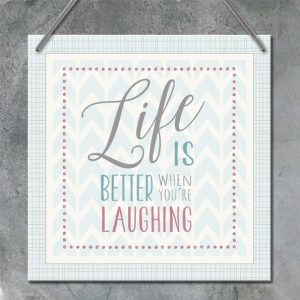 Square wooden sign-Life better when you're laughing
