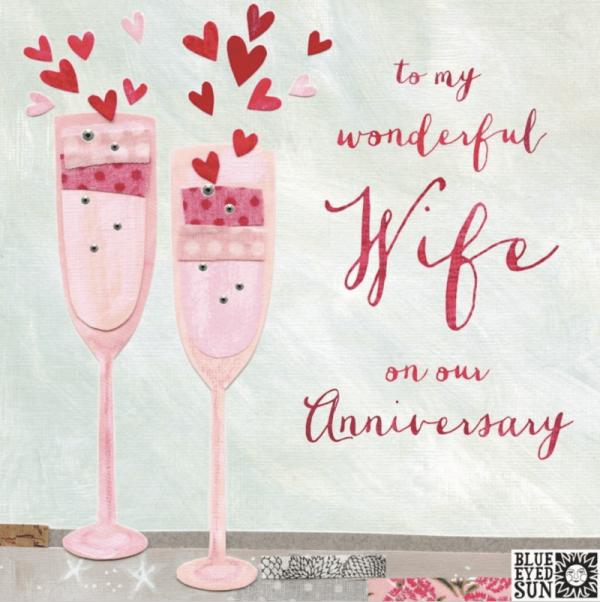 Wonderful Wife Anniversary Card Champagne