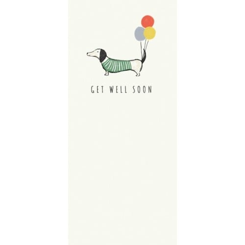 af511a Get well soon card sausage and balloons