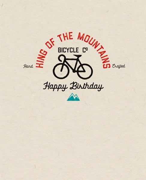 King of the Mountains birthday card cycling themed