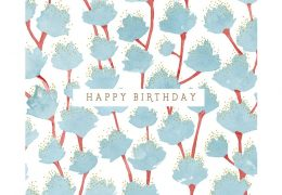 Blue Leaves Happy Birthday Card