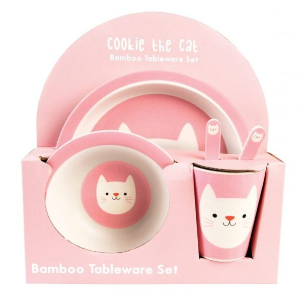 Cookie The Cat Tableware Set Bamboo
