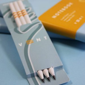 Pure White Pencils in blue VENT sleevec