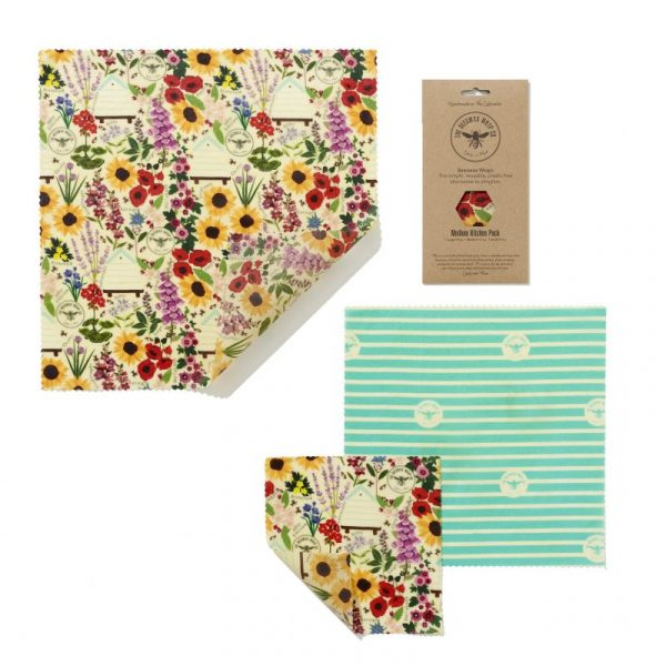 Beeswax Food Wrap - Medium Pack Floral Design.