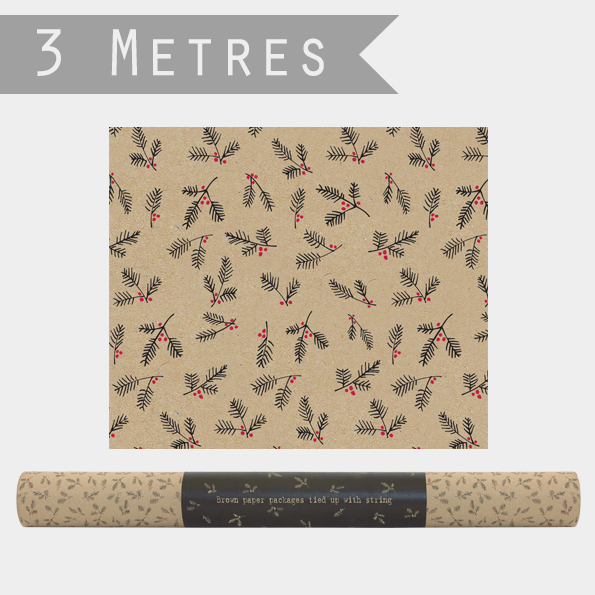 Roll of Kraft paper-Berry branches