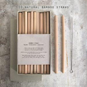 1358 Box of bamboo straws with brush