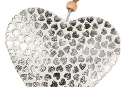 Large White Glass Heart with Silver Hearts