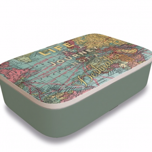 Travel Map Classic Bamboo Lunchbox