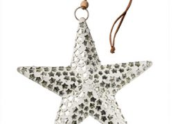 Large White Glass Star with Silver Stars