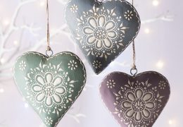 Hand Painted Wooden Hanging HeartFair trade