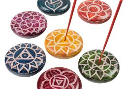 Chakra handcarved round soapstone pebble incense holder