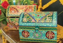 Hand painted domed wooden box