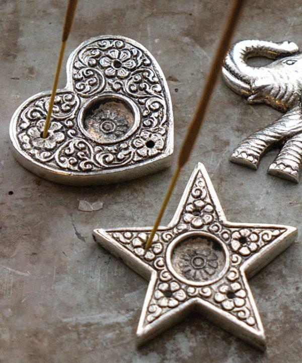 Metal embossed star/heart shaped incense holder
