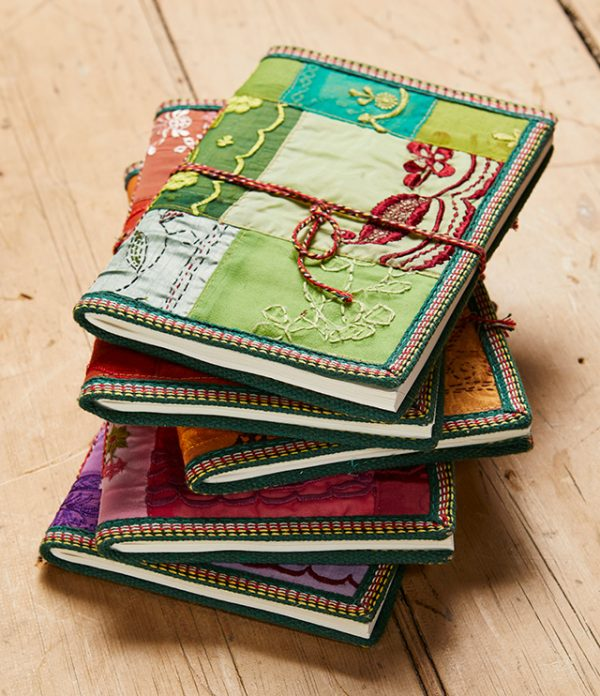 Sari covered handmade paper large notebook
