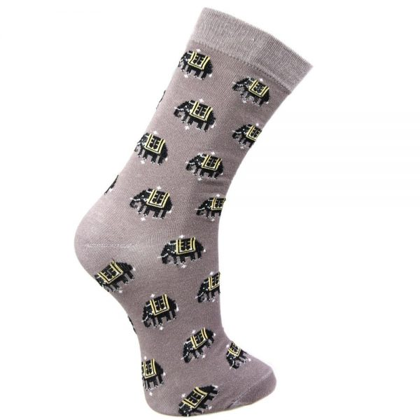 Fair Trade Bamboo Socks - Grey Elephants