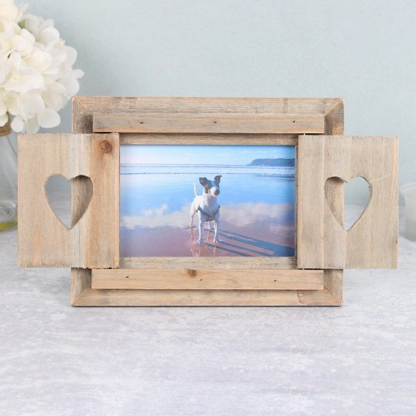 DRIFTWOOD PHOTO FRAME WITH HEART SHUTTERS