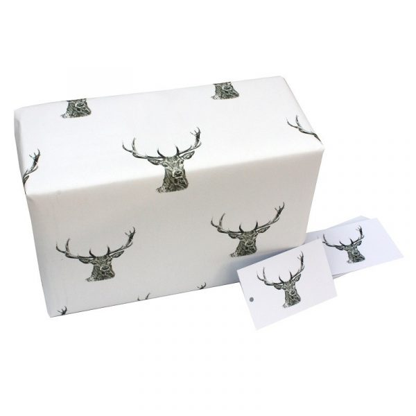 Black and White Stags by Sophie Botsford : Recycled Wrapping Paper