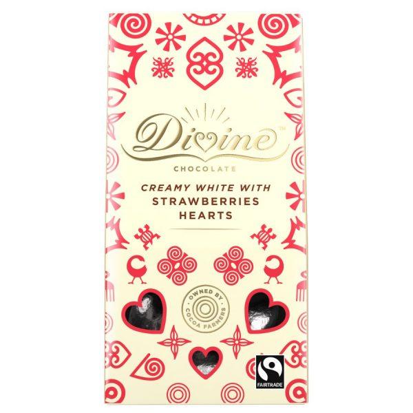 Divine White Chocolate & Strawberry Hearts - 80g