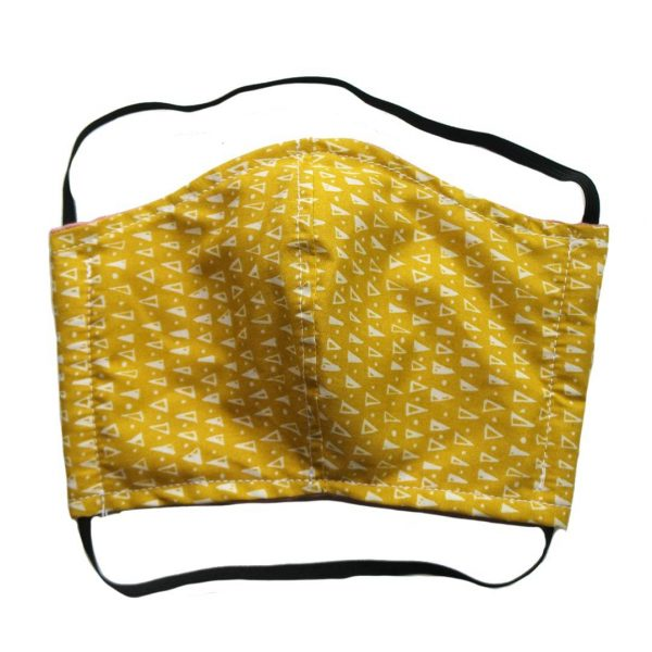 Biodegradable Face Mask by Tabitha Eve. Mustard Pattern