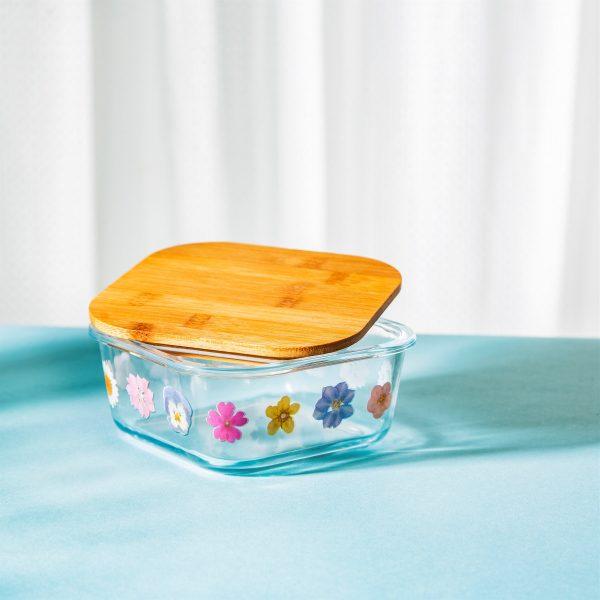 PRESSED FLOWERS GLASS STORAGE BOX SMALL