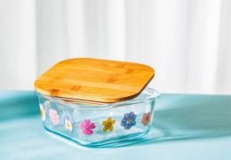 PRESSED FLOWERS GLASS STORAGE BOX SMALL