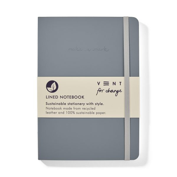Vent for Change Recycled-Leather-A5-notebook-Dusty-Blue-Front-PK