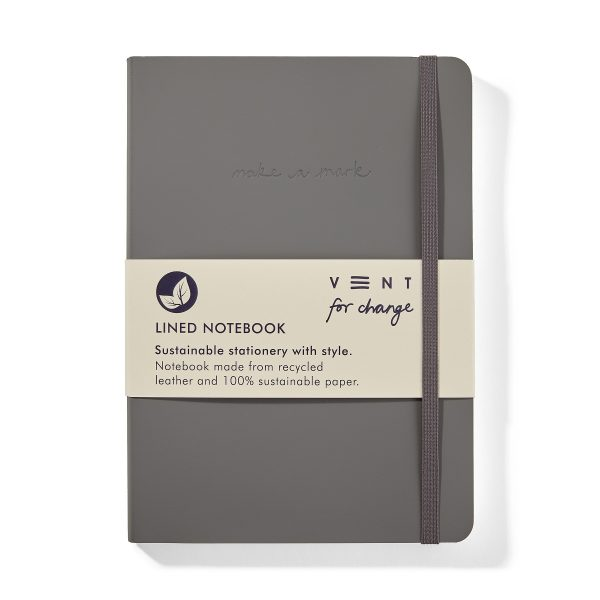 Vent for Change Recycled-Leather-A5-notebook-Elephant-Grey-Front-PK