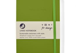 Vent for Change-Recycled-Leather-A5-notebook-Green-Front-PK