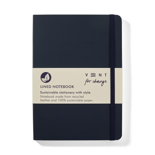 Vent for Change-Recycled-Leather-A5-notebook-Navy-Blue-Front-PK